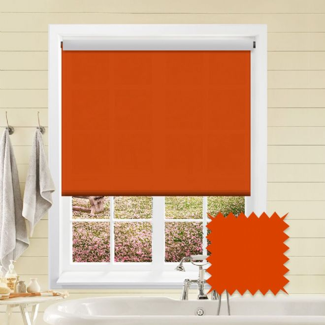Blackout Orange Roller Blind - Astral Jazz Plain - Just Blinds